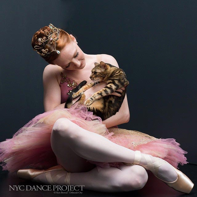 Lilly the bengal cat and Gillian Murphy, NYC Dance Project