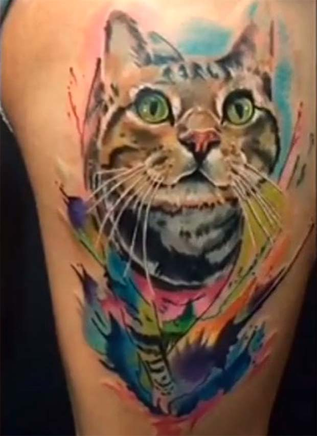 Water color Bengal cat tattoo