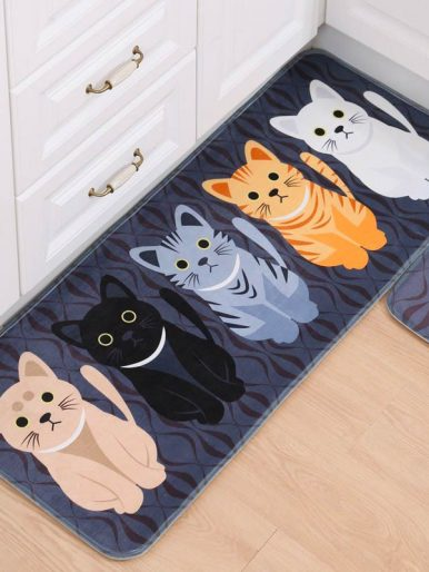 Cat Floor Mat Blue