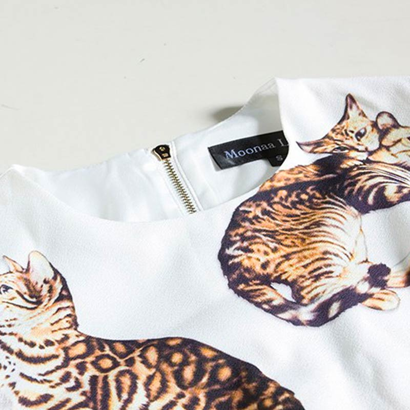 bengal cat print dress detail