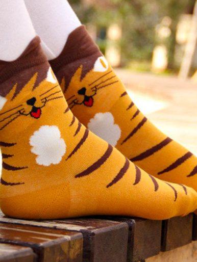 Cartoon Cat Ankle Socks With Ears