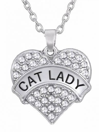 Cat Lady Crystal Heart Pendant Necklace