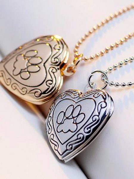 Gold and Silver Pet Memorial Necklace With Photo Locket