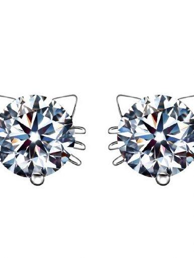 Crystal Cute Cat Stud Earrings