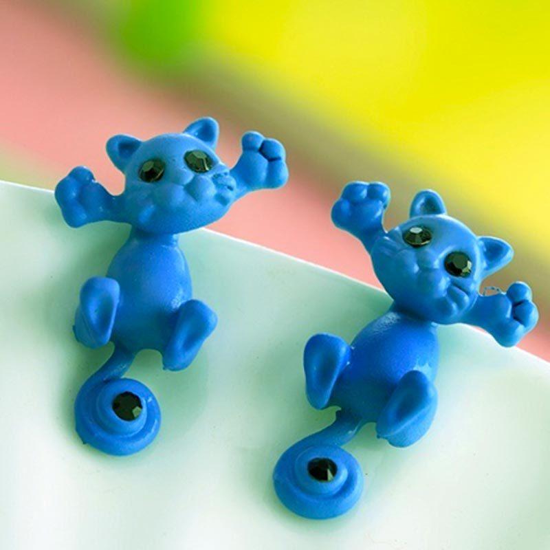 Cute Cat Stud Earrings Blue
