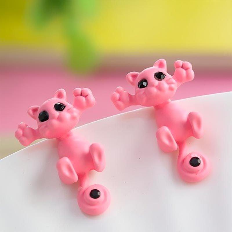 Cute Cat Stud Earrings Pink