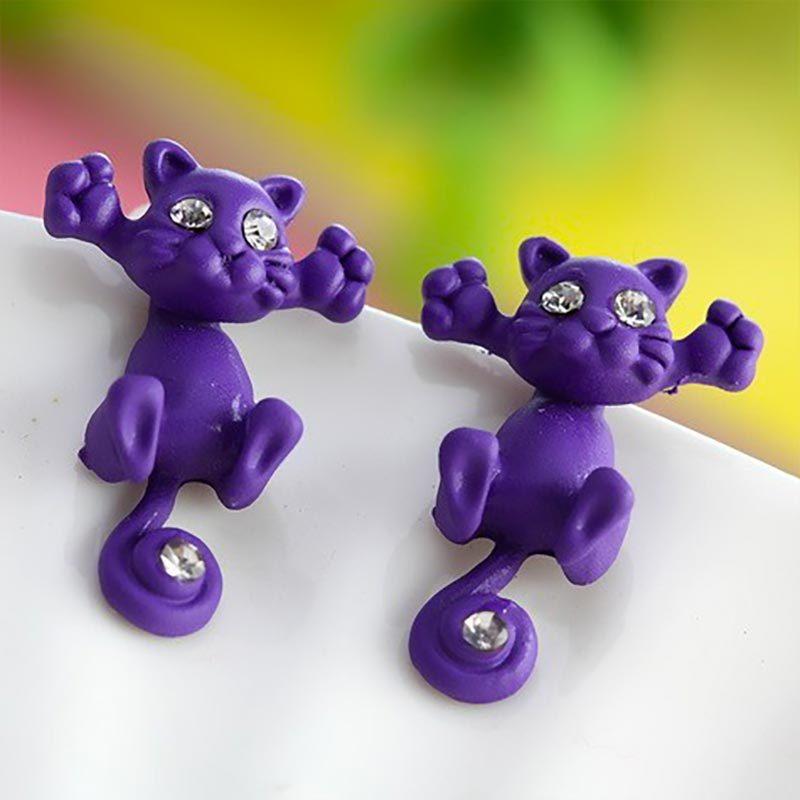 Cute Cat Stud Earrings Purple