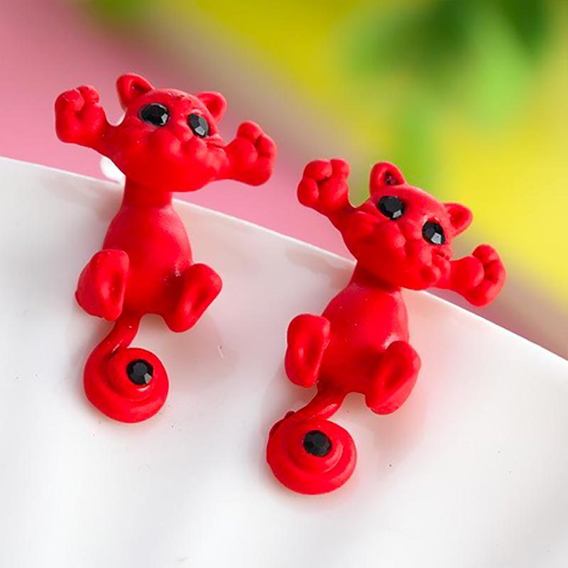 Cute Cat Stud Earrings Red
