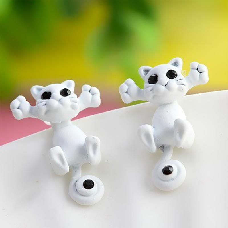 Cute Cat Stud Earrings White