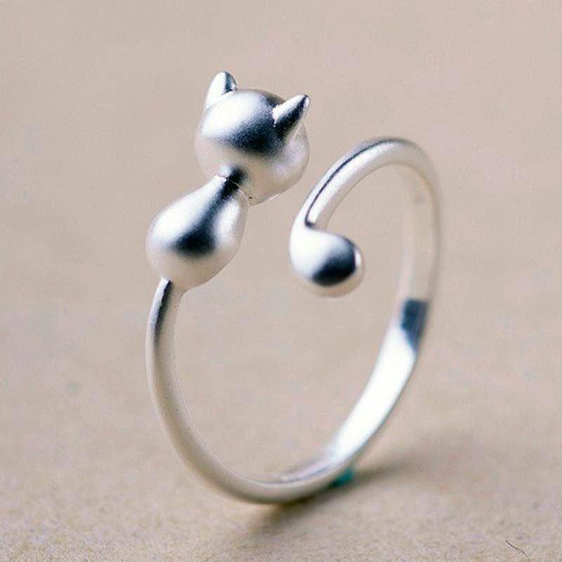 Silver Open Ring Cute Kitty Cat