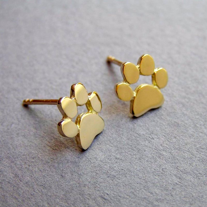 Cute Paw Print Stud Earrings Gold Plated