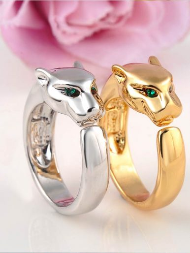 Leopard Rings With Green Crystal Eyes