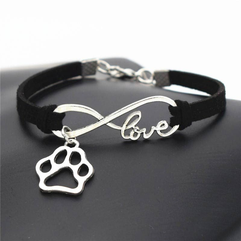 Black Leather Bracelet Infinite Love & Paw Charms Pendant