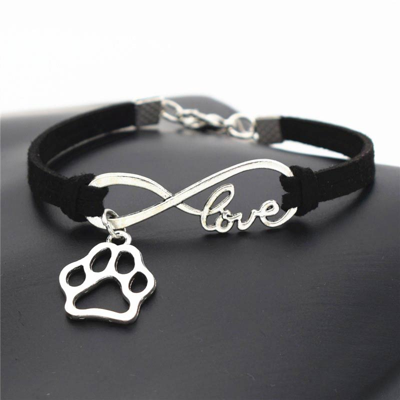 Leather Bracelet With Charms: Leather Bracelet Infinite Love & Paw Charms Pendant