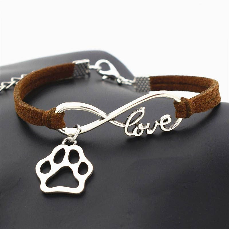 Brown Leather Bracelet Infinite Love & Paw Charms Pendant