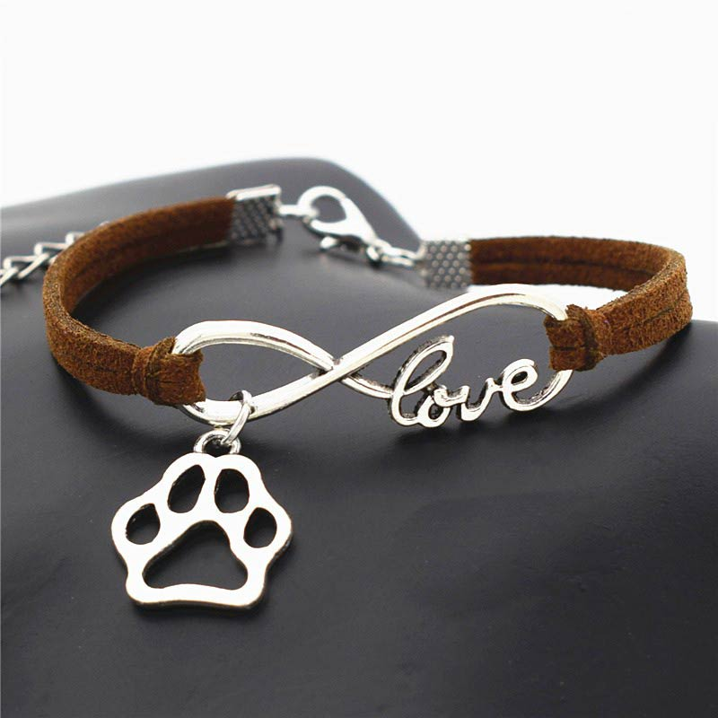 Brown Leather Bracelet Infinite Love Paw Charms Pendant
