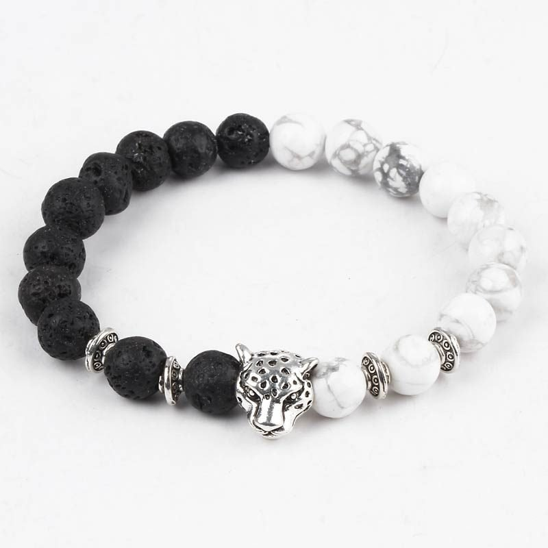Leopard Head Lava Beads Bracelet‎ Black White Silver