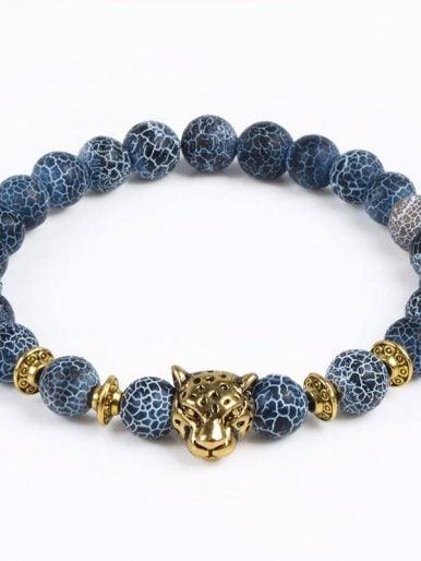 Leopard Head Lava Beads Bracelet Blue Gold