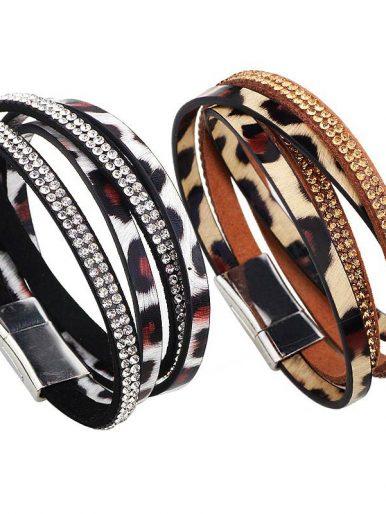 Leopard Print Rhinestone PU Leather Multilayer Bracelets