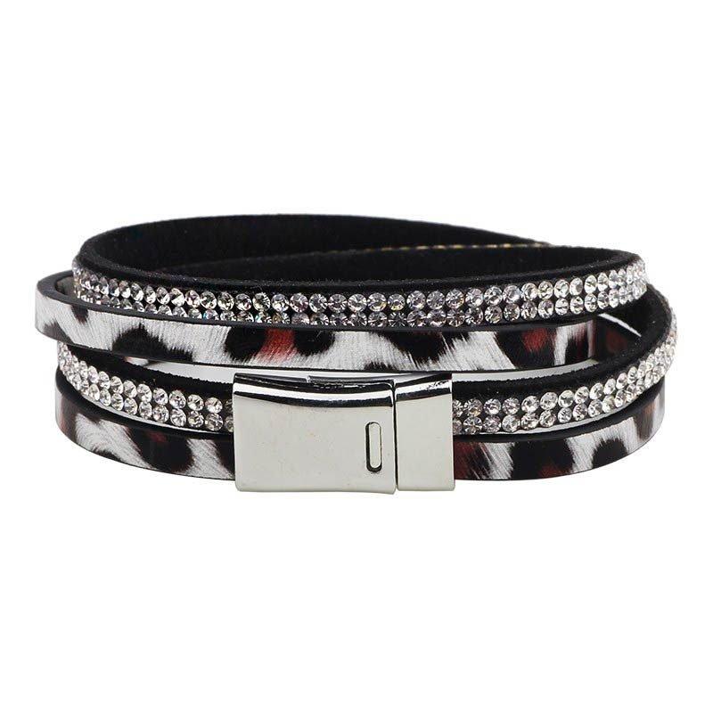Silver Spotted Leopard Print Multilayer Bracelet
