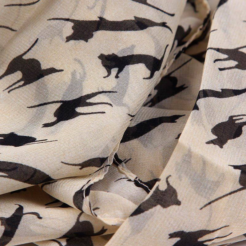Long Cat Print Scarf Beige Detail
