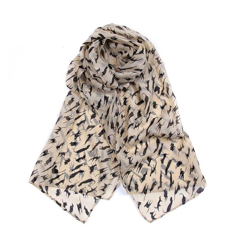 Long Cat Print Scarf Beige