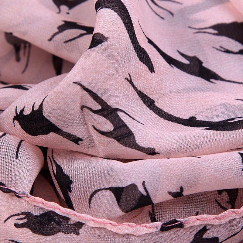 Long Cat Print Scarf Pink Detail