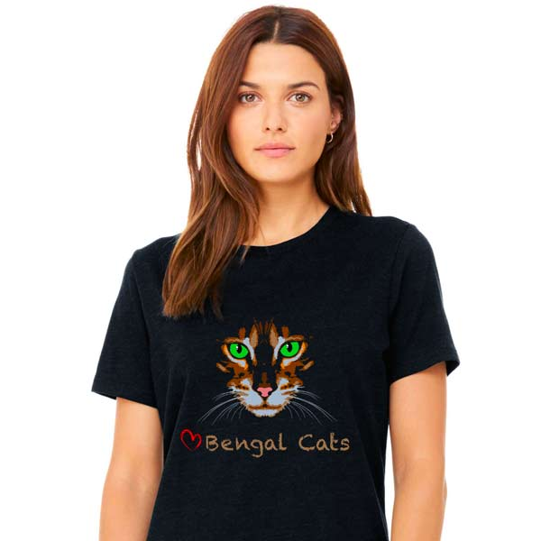 Love Bengal Cats T-Shirt Model Black