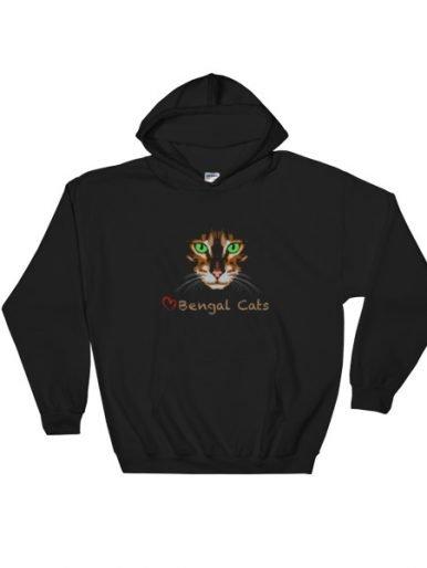 Love Bengal Cats Hooded Sweatshirt