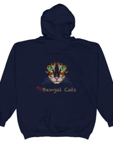 Love Bengal Cats Unisex Zip Hoodie