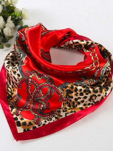Multicolored Leopard Print Scarf