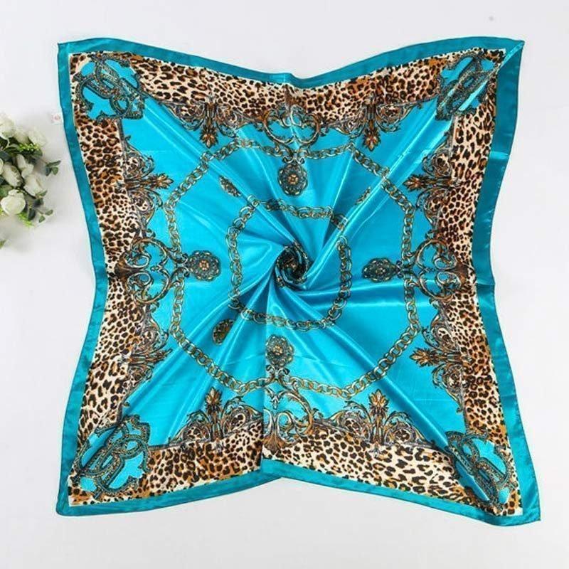 Multicolored Leopard Print Scarf Blue