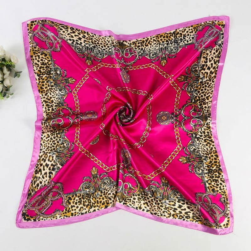 Multicolored Leopard Print Scarf Rose