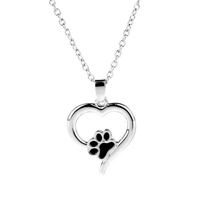 Necklace With Paw Print Heart Pendant