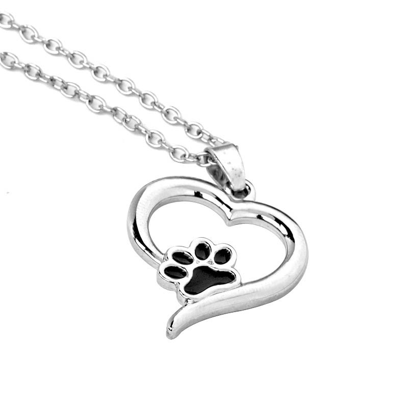heart pawprint charm pet gold silver pets paw in products or necklace pendant print multiple
