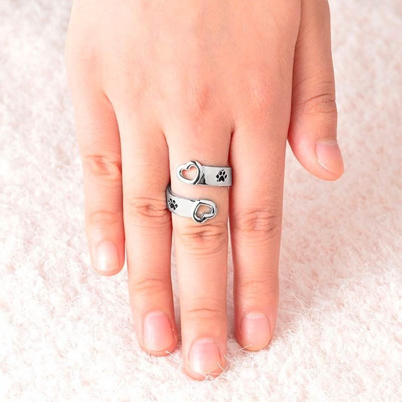 Wrap Around Ring With Paw Print Heart