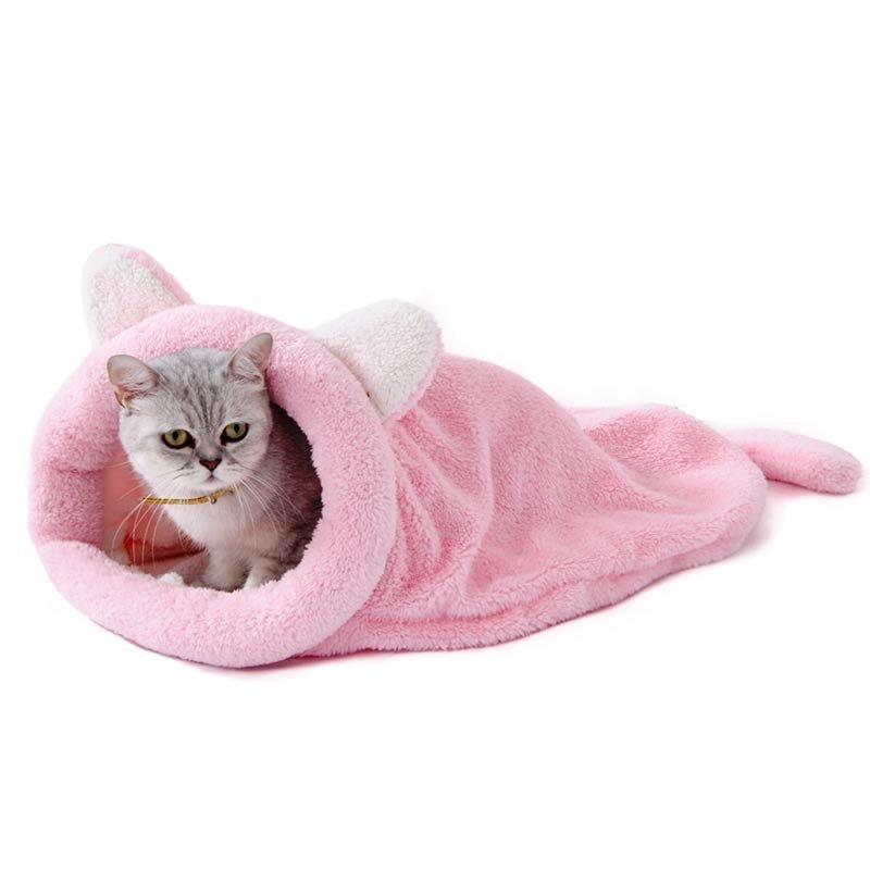 Cute Sleeping Bag Cat Bed Pink