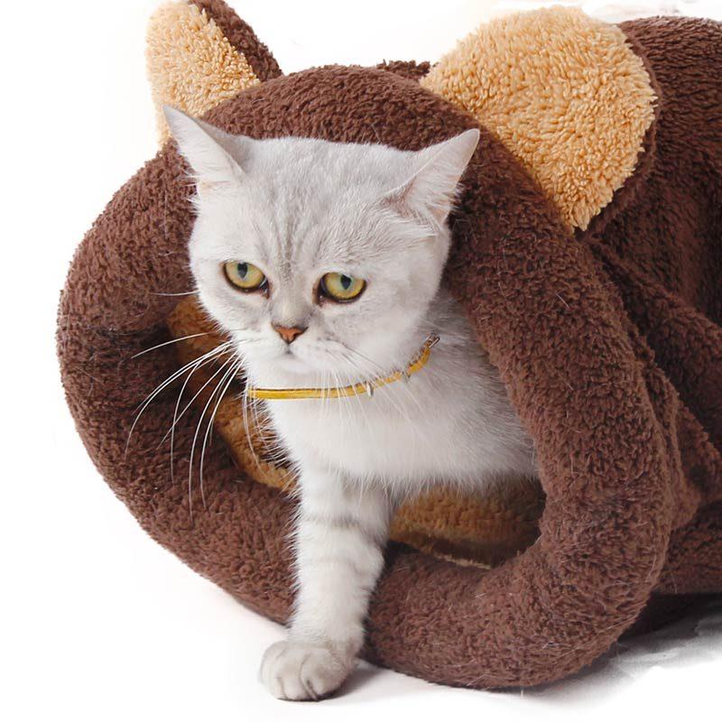 Cute Sleeping Bag Cat Bed Brown