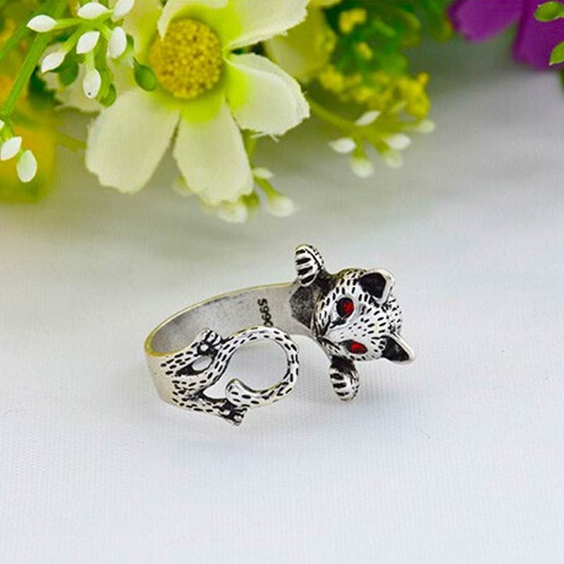 Vintage Kitty Ring Silver
