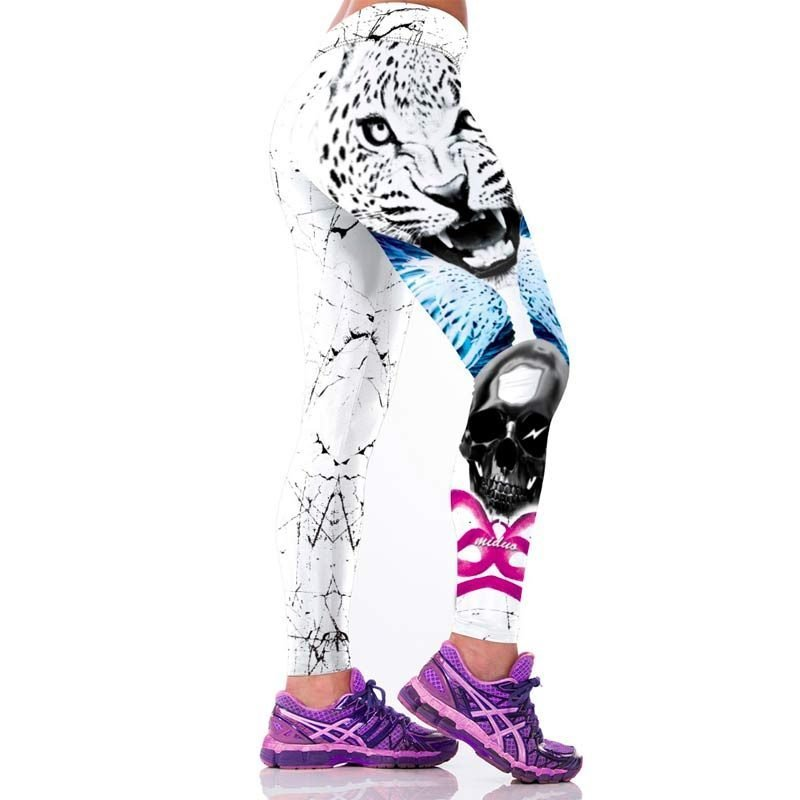 White Leopard Head Printed Legging Side