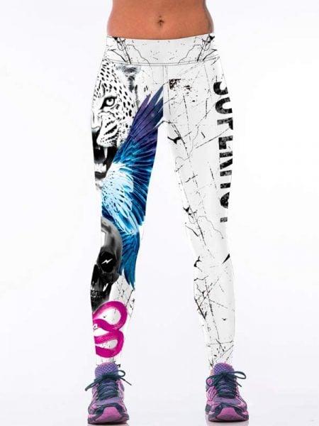 White Leopard Head Printed Legging