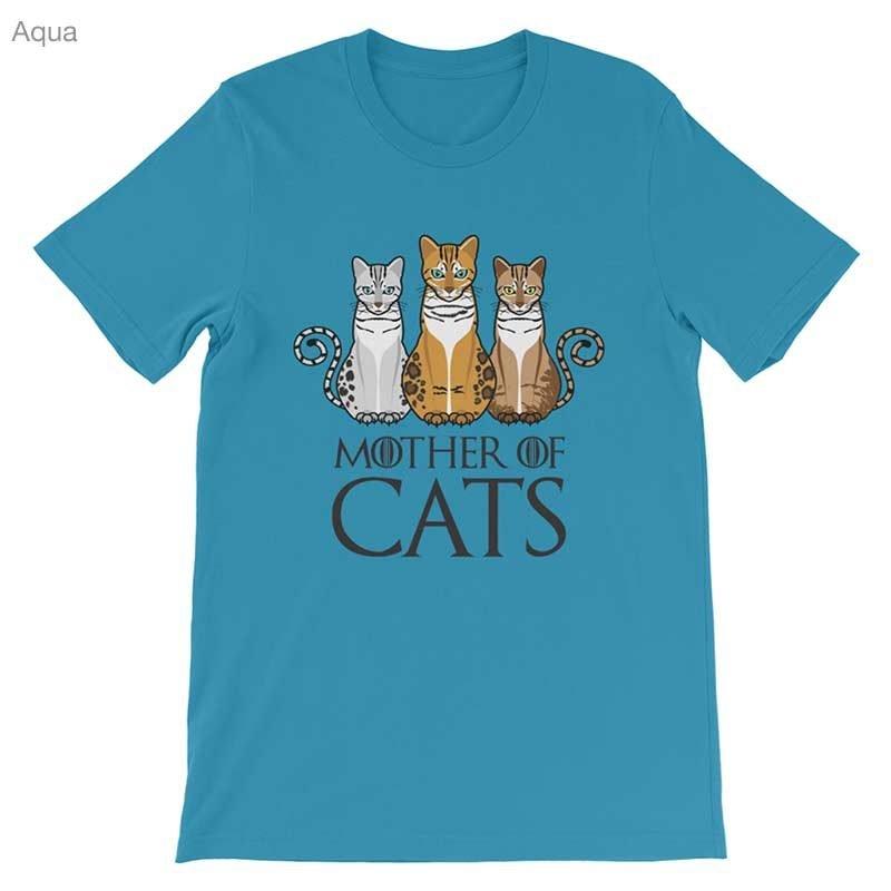 mother of cats shirt bella aqua 1