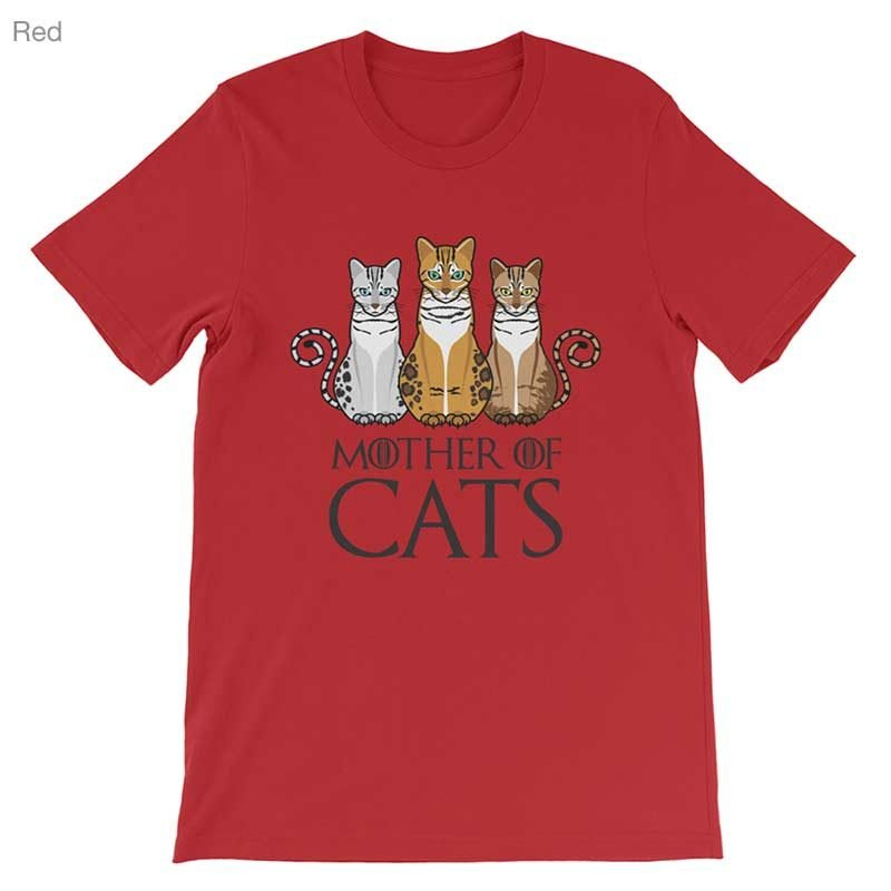 Mother Of Cats T-Shirt Bella Red