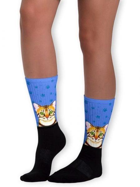 Brown Bengal cat face crew socks