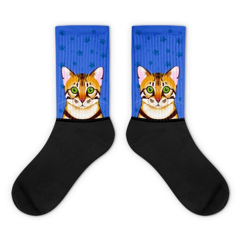 Brown Bengal cat face crew socks