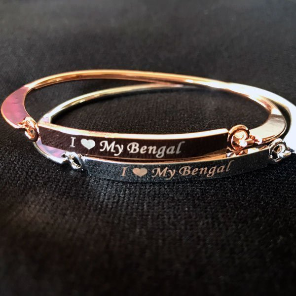 Engraved Bangle: I Love My Bengal