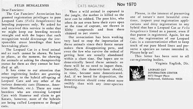 1970 cat magazine bengalensis