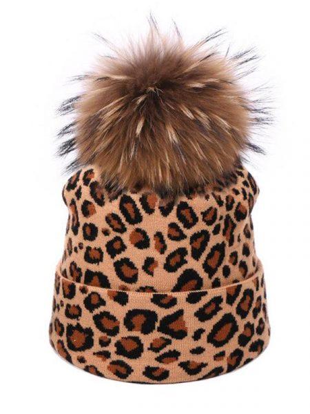 Brown Leopard Pom Pom Beanie
