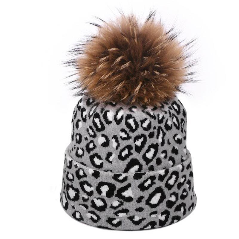 Light Grey Leopard Pom Pom Beanie