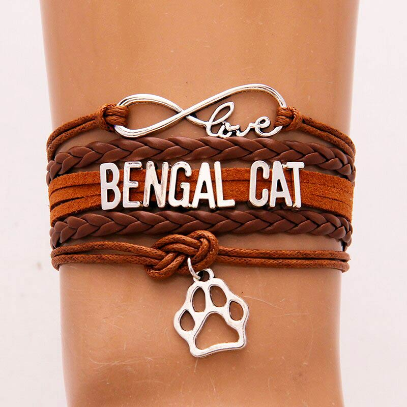Love Bengal Cat Bracelet Brown